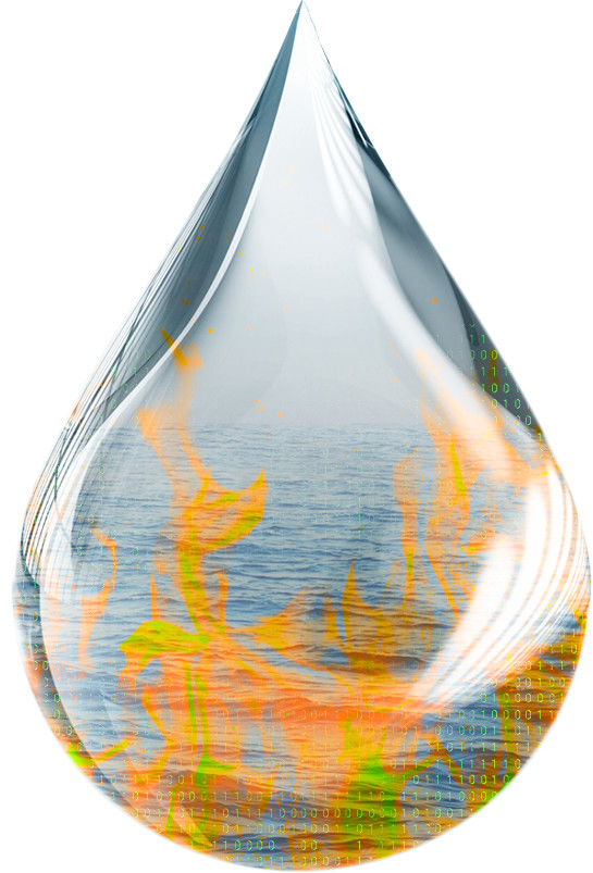 Image of a drop of water engulfed in flames